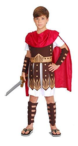 (GD Gladiator Kostüm Kinder rot-weiß-braun - Römer Kostüm Kinder Jungen - römischer Ritter Kostüm Kind (122/128))