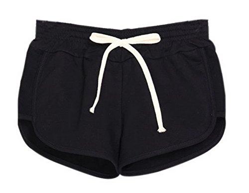 Y-BOA 1Pc Short En Coton Femme Taille L Sport/Mince Noir
