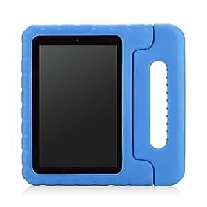 MoKo Etui Amazon Kindle Fire HD 7 2014 - Etui Résistant aux Chocs Poignée Convertible avec Housse de Protection Béquille Bienvenue aux Enfants pour Tablette Kindle Fire HD 7 Pouces 4ème Gen, BLEU (non adapté à Fire 7 2015)