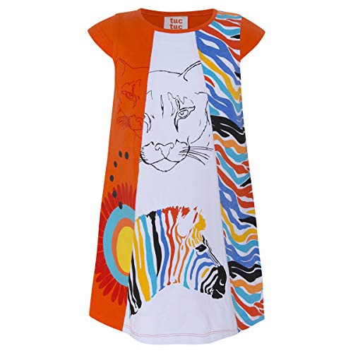 34503d03b Tuc Tuc Girl's Vestido Punto Combinado Niña Good Vibes Dress, Orange  (Naranja 10)