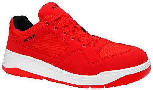 ELTEN Maverick Red Low ESD S3 Herren Sicherheitsschuhe, Arbeitsschuhe, Sicherheitshalbschuh, Zertifiziert Nach En ISO 20345 : S3, Stahlkappe (Rot), EU 43