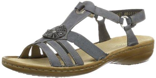Rieker Damen 60869 Offene Sandalen mit Keilabsatz Blau (Jeans / 14) 40 EU