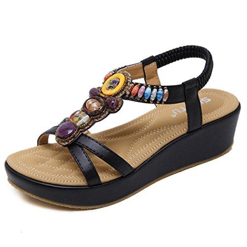 S&H-NEEDRA Mode Frauen Sandalen Sommer Böhmen Schuhe Wedges Mädchen Bead Middle Heel Sandalen