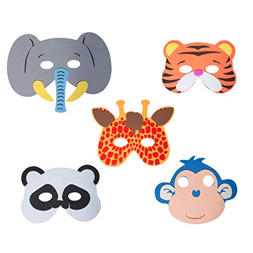Werbewas 5er Set Schaumstoff Masken mit verschiedenen Tiermotiven - Dschungel - als Karnevals, Halloween, Cosplay, Geburtstags-Party Kostüm (Dschungel Tiger Kostüm)