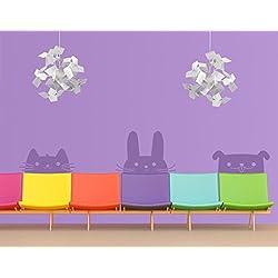 Wandtattoo No.EK139 Katze Hase Hund WandSticker WandTattoo Kinder Baby Tiere, Farbe:Creme;Größe:90cm x 358cm