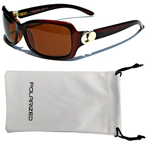 VOX Frauen polarisierte Sonnenbrillen Klassisch schicke Designermode Brillen kostenlos aus Mikrofaser Beutel - Amber Frame-Amber-Objektiv
