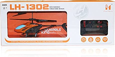 Akshat Remote Control Helicopter RC Lh-1302 with 3D Lights and Sound Durable King (Orange, Blue)