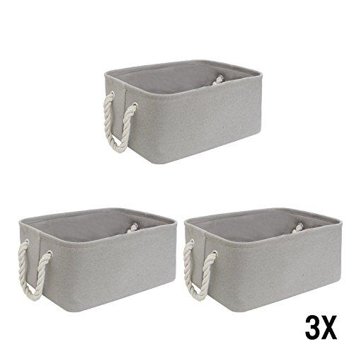 WM Homebase 3er Set Stoff Aufbewahrungskorb Aufbewarungsboxen Spielzeugkorb Organize in Grau rechteckig 36x25x16 cm