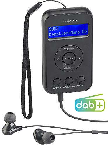 VR-Radio Pocketradio: Digitales Taschenradio mit DAB+/FM, Akku, LCD-Display, DRC & Ohrhörern (DAB Mini Radio)