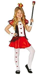 Guirca - Disfraz de dama corazones con vestido, para niños de 5-6 años, color rojo (82660)