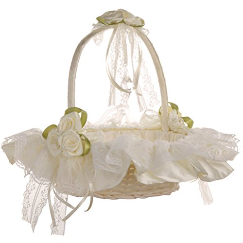 LUOEM Cesta flor boda Cesta novia cordón cesta decoración