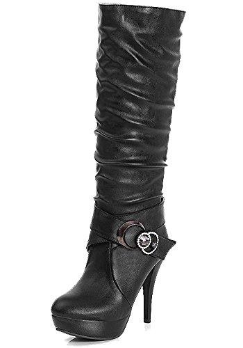 Damen Wasserdichte Stiefel Mit Hohen Absätzen Fein Stiefel Elegant Langschaftstiefel Strasssteine Gürtelschnalle Schuhe Schwarz EU 36