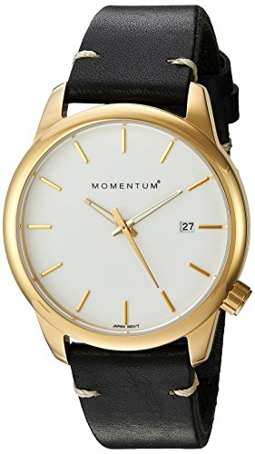 Momentum Women's Quartz Stainless Steel and Leather Dress Watch, Color:Black (Model: 1M-SP13W3B)