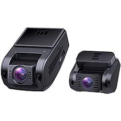 """AUKEY Dash Cam Doppia Telecamera per Auto 1080p, Obiettivo Grandangolare di 170 Gradi, Visione Notturna, Rilevatore di Movimento, Registrazione in Loop, G-Sensor e 1,5"""" Schermo LCD"""