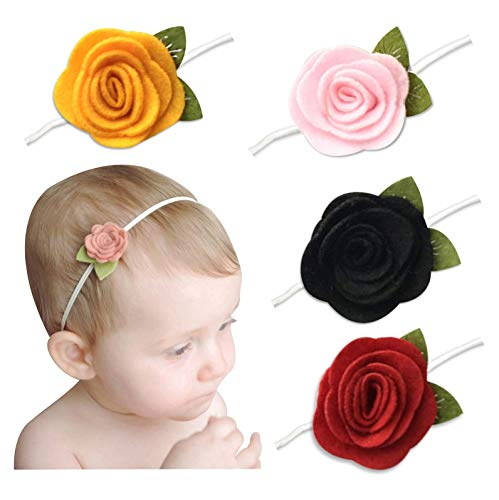 BabyMoon Baby Headbands Flower, Girl's Hairbands for Newborn,Toddler and Children (Pack of 4, Light Pink, Black, Yellow, Red)
