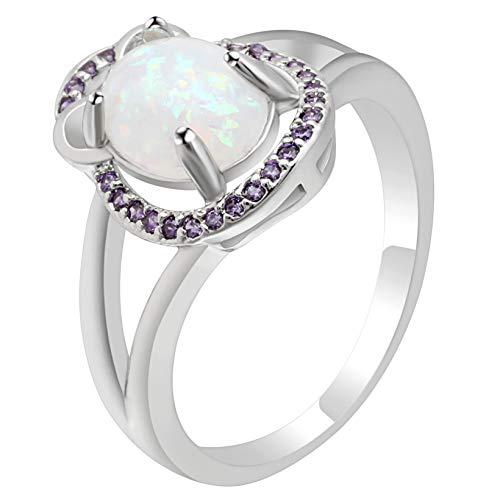 RQZQ Ring Neue Silber Farbe Oval Cut Australien Feueropal Ring Engagement Versprechen Erklärung Jahrestag Schmuck Ringe
