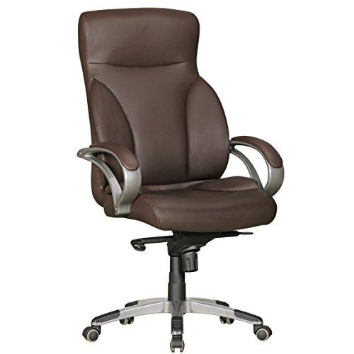 AMSTYLE Bürostuhl BERLIN XXL Kunst-Leder braun 150 kg Belastbarkeit | Chefsessel mit Kopfstütze & Multiblockmechanik | Design Drehstuhl verstellbar | Schreibtisch-Stuhl hohe Rückenlehne