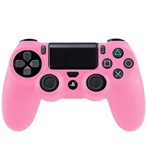Silikon Schutzhülle für Sony PS4 Controller Gummi Bumper rosa, flexibel (Gummi Ps4)