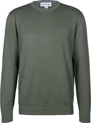Lacoste AH7004 Klassischer Herren Pullover, Pulli, Strickpullover, Rundhals, 100% Baumwolle Army 02C