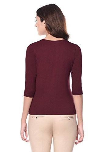 Miss Chase Women's Basic Top (MCS14TS01-06_Maroon_Medium)