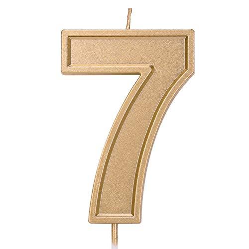 LUTER 3.94 Pulgadas Velas de cumpleaños de Gran tamaño Pastel de cumpleaños con Purpurina Dorada Velas Número Velas Decoración de la Torta para la Fiesta de Bodas Niños Adultos, Número 7
