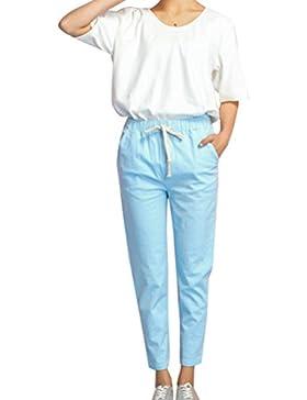 Mujer Pantalones Anchos Casual Cintura alta Boyfriend Baggy Harem Pantalón Pantaloni cintura elástica