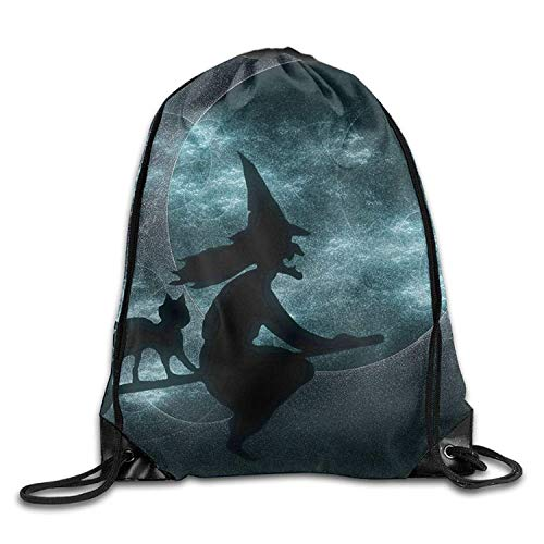 KIMIOE Turnbeutel Halloween Witch Pattern Halloween Unisex Gym Large Drawstring Bucket Bag Shoulder Bag Backpack String Bags (Halloween Einfach Tutorial Make-up)