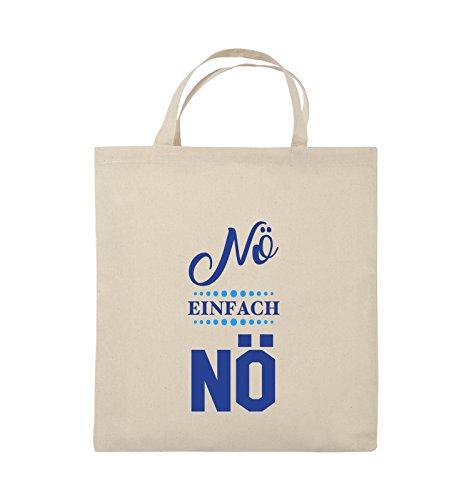 Comedy Bags - Nö einfach nö - Jutebeutel - kurze Henkel - 38x42cm - Farbe: Schwarz / Weiss-Neongrün Natural / Royalblau-Hellblau