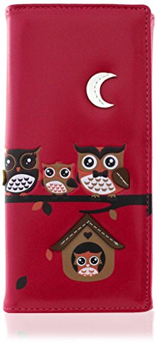 Kukubird Owl Family Tree Motif Grande Taille Femme à main d'embrayage Portefeuille 33 FUSCHIA