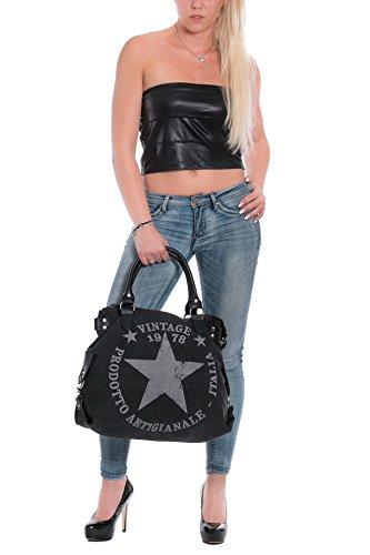 Damen Handtasche Tasche mit Stern Canvas Tasche Umhängetasche Schultertasche canvas Henkeltaschen Grau