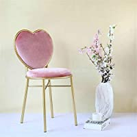 Dongdexiu Garden Furnitures Modern Fashion Nordic Minimalist Coffee Cafe Chair Love Heart Shape Backrest Flannelette Soft Seat Metal Iron Art Leisure Chair(Sky Blue)