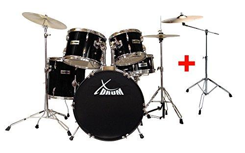 """XDrum Semi 20"""" Studio Schlagzeug Schwarz SET inkl. Galgenständer + 16"""" Crash Becken (doppelstrebige Hardware, inkl. Snareständer, Fußmaschine, Hi-Hat, Becken, Hocker, Drumsticks, Schule + DVD)"""