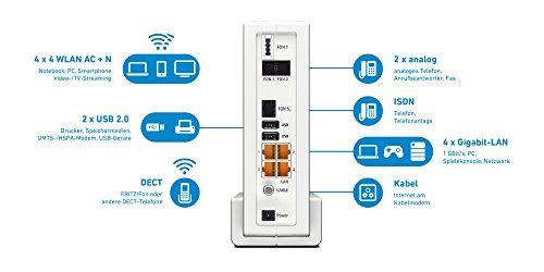 AVM FRITZ!Box 6590 Cable WLAN AC + N Router (DOCSIS-3.0-Kabelmodem, Dual-WLAN AC+N mit 1.733 Mbit/s (5 GHz) + 800 MBit/s (2,4 GHz), VoIP-Telefonanlage) - 2