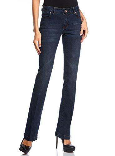 oodji Collection Donna Jeans Dritti con Vita Regular, Blu, 28W / 32L (IT 44 / EU 28 / M)