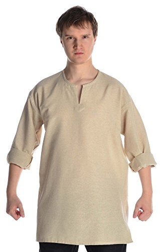 Moyen naturel et tunique chemise homme gewandung sous coton rouille Beige - Beige