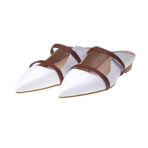 hexiajia22cm-24.5ccm chaussure femme chausson talon bas chaussure à perle chaussure à lacet chaussure blanche Blanc