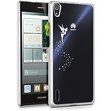 kwmobile Elegante y ligera funda Crystal Case Diseño hada para Huawei Ascend P7 en plata transparente