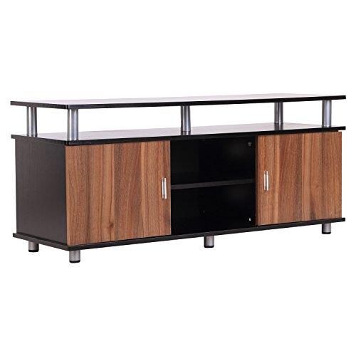 Homcom Meuble Banc TV Design Contemporain Multi-rangements : 2 Portes Niche Centrale étagère Grand Plateau 120L x 40l x 52H cm Marron Noir métal