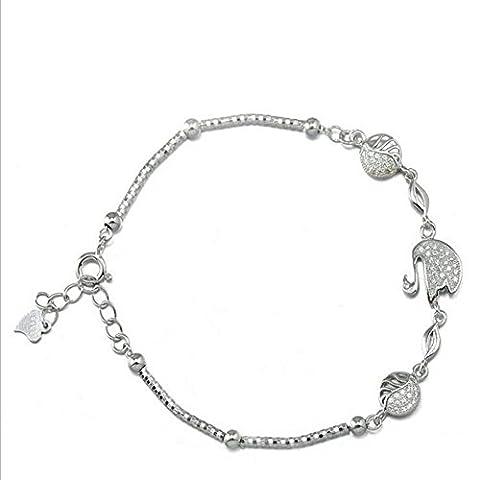 XG S925 micro-isolant en argent set anti-allergique blanc réglable anti-fatigue activités féminines boucle bracelet