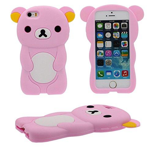 iPhone SE Hülle Schön Bär Gestalten Serie Slikon Gel [ Glatte Oberfläche ] Super Weich Cartoon Tier Case Schutzhülle für Apple iPhone 5 iPhone 5S 5C Hülle - Pink pink