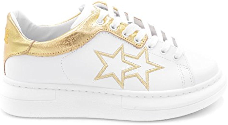 2 STAR - Zapatillas de Piel para mujer Blanco Bianco/Oro