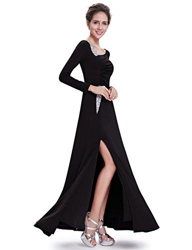 Ever Pretty Robe de cocktail longue fendue et manches longues 09736 Noir