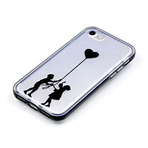 iPhone 8 Silikon Hülle, iPhone 7 Silikon Hülle, BONROY® TPU Schutzhülle für iPhone 8 / iPhone 7 Silikon Handyhülle Case Cover,TPU Case Helle Schale Painted Handytasche Weiche Zurück Tasche Etui Bumper Liebes-Paar