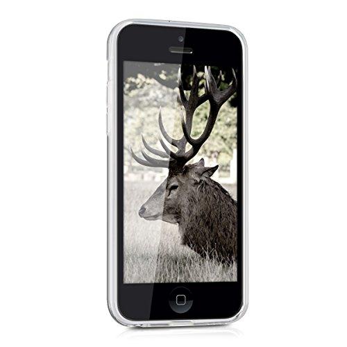 kwmobile Étui TPU silicone élégant et sobre pour Apple iPhone 5C en transparent zentangle cerf IMD noir blanc