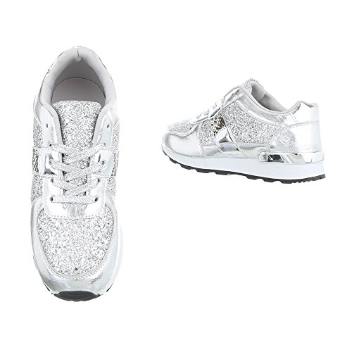 Ital-Design Sneakers Low Damenschuhe Sneakers Low Sneakers Schnürsenkel Freizeitschuhe Silber G-102