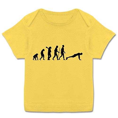 Evolution Baby - Liegestütze Evolution - 56-62 (2-3 Monate) - Gelb - E110B - Kurzarm Baby-Shirt für Jungen und Mädchen