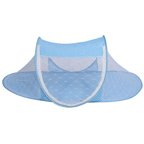 Baby Infant Bed Canopy Mosquito Net, plegable Baby Infant Pop Up Crib Cradle Anti-Bug Tienda Mosquito Mesh Net Portátil Nursery Bed Cuna Canopy Travel Bed Play Shades(turquesa)