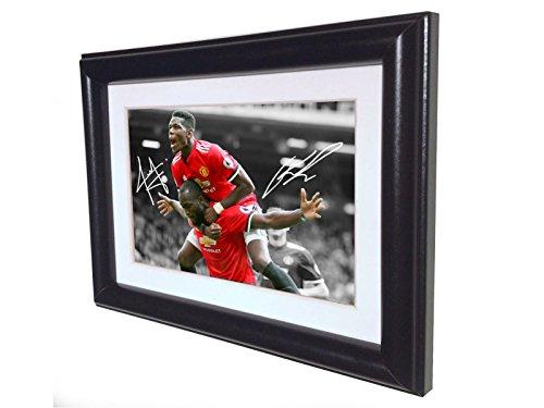 Unterzeichnet Romelu Lukaku Paul Pogba Manchester United Autogrammkarte Bilderrahmen SML