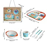 TuToy 5 Style Bamboo Fiber Colorful Kids Meal Set Feeding Tools Plate Cup Spoon Fork Kid Bowl - E