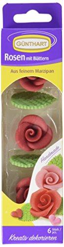 Preisvergleich Produktbild Günthart Marzipan-Rosen rot mit Blättern,  4er Pack (4 x 33 g)